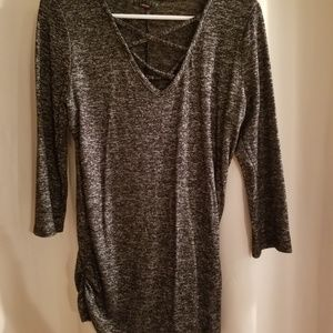 Gray tunic with ruched sides